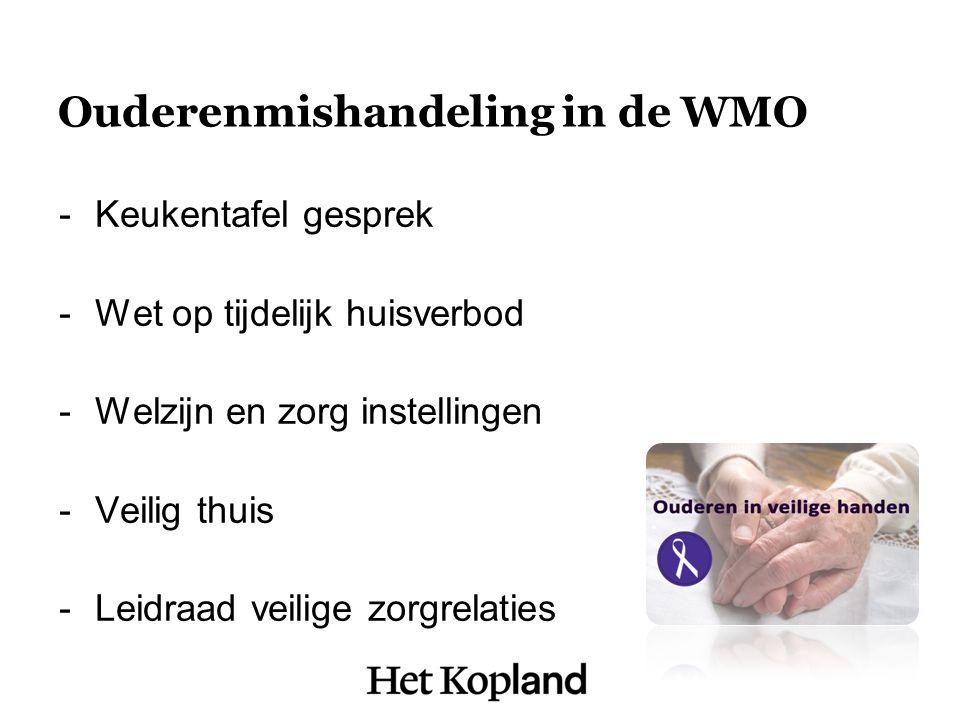 Ouderenmishandeling in de WMO -Keukentafel gesprek -Wet op tijdelijk huisverbod -Welzijn en zorg instellingen -Veilig thuis -Leidraad veilige zorgrelaties