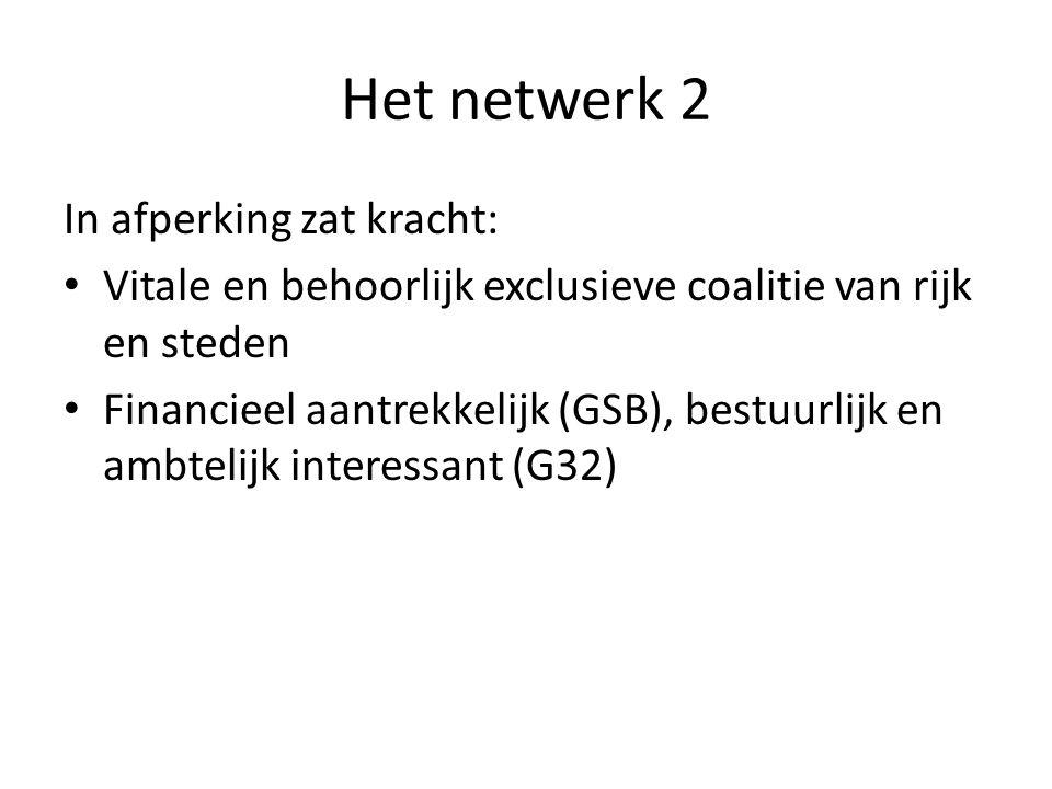 Het netwerk 2 In afperking zat kracht: Vitale en behoorlijk exclusieve coalitie van rijk en steden Financieel aantrekkelijk (GSB), bestuurlijk en ambtelijk interessant (G32)