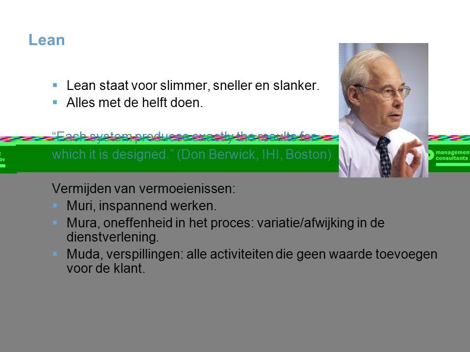 "Lean  Lean staat voor slimmer, sneller en slanker.  Alles met de helft doen. ""Each system produces exactly the results for which it is designed."" (D"