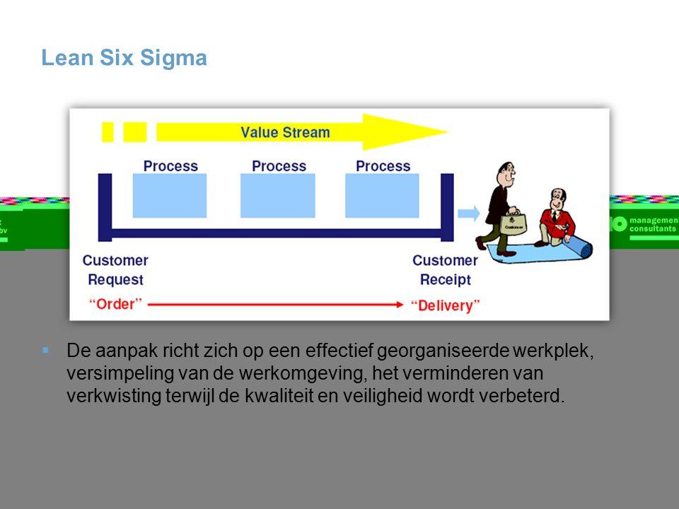 Lean Six Sigma  De aanpak richt zich op een effectief georganiseerde werkplek, versimpeling van de werkomgeving, het verminderen van verkwisting terwijl de kwaliteit en veiligheid wordt verbeterd.