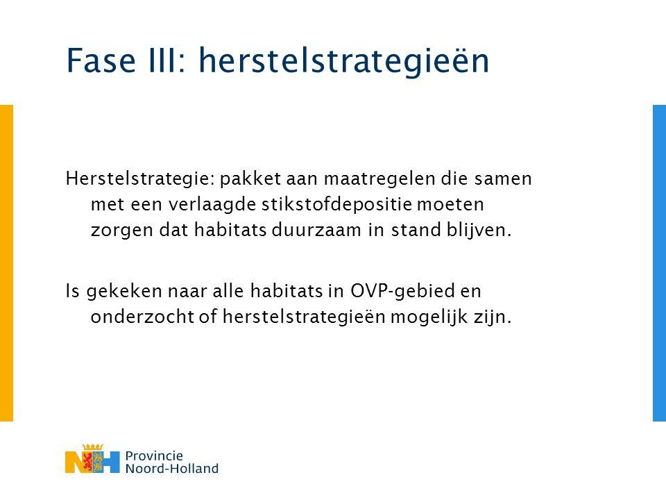 Fase III: herstelstrategieën Herstelstrategie: pakket aan maatregelen die samen met een verlaagde stikstofdepositie moeten zorgen dat habitats duurzaa