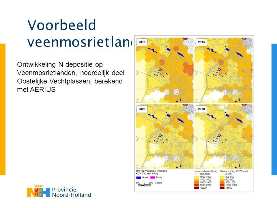 Voorbeeld veenmosrietlanden Ontwikkeling N-depositie op Veenmosrietlanden, noordelijk deel Oostelijke Vechtplassen, berekend met AERIUS