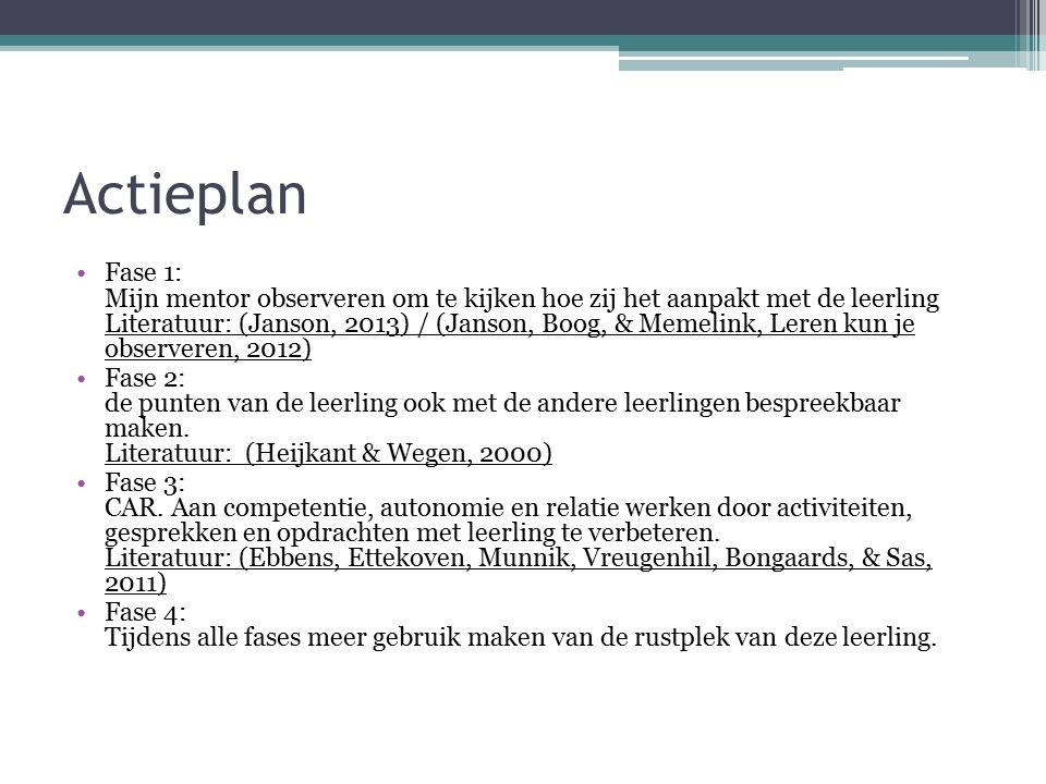 Actieplan Fase 1: Mijn mentor observeren om te kijken hoe zij het aanpakt met de leerling Literatuur: (Janson, 2013) / (Janson, Boog, & Memelink, Lere