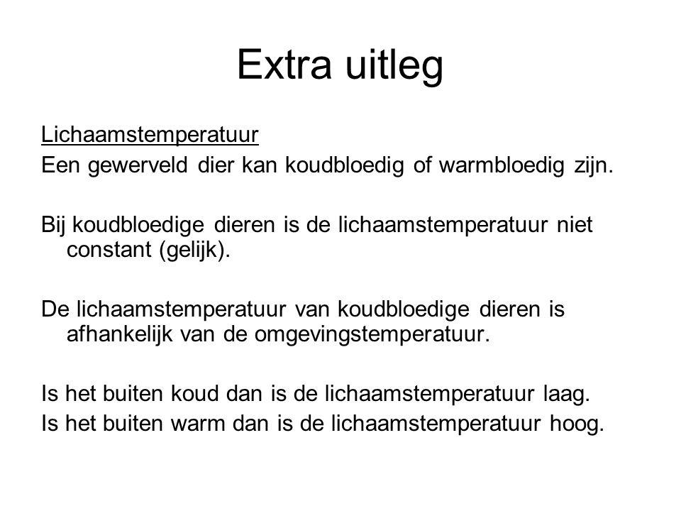 Extra uitleg Lichaamstemperatuur Een gewerveld dier kan koudbloedig of warmbloedig zijn. Bij koudbloedige dieren is de lichaamstemperatuur niet consta