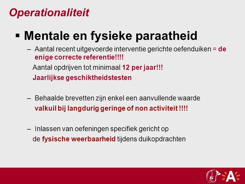 Operationaliteit  Mentale en fysieke paraatheid –Aantal recent uitgevoerde interventie gerichte oefenduiken = de enige correcte referentie!!!.