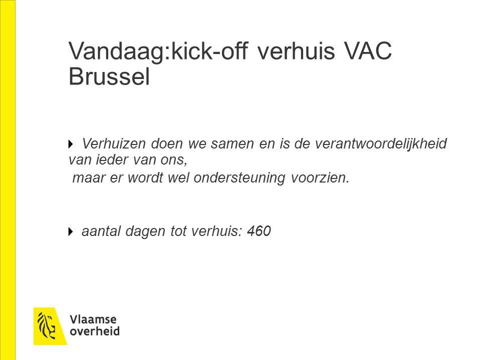 Vandaag:kick-off verhuis VAC Brussel Verhuizen doen we samen en is de verantwoordelijkheid van ieder van ons, maar er wordt wel ondersteuning voorzien.