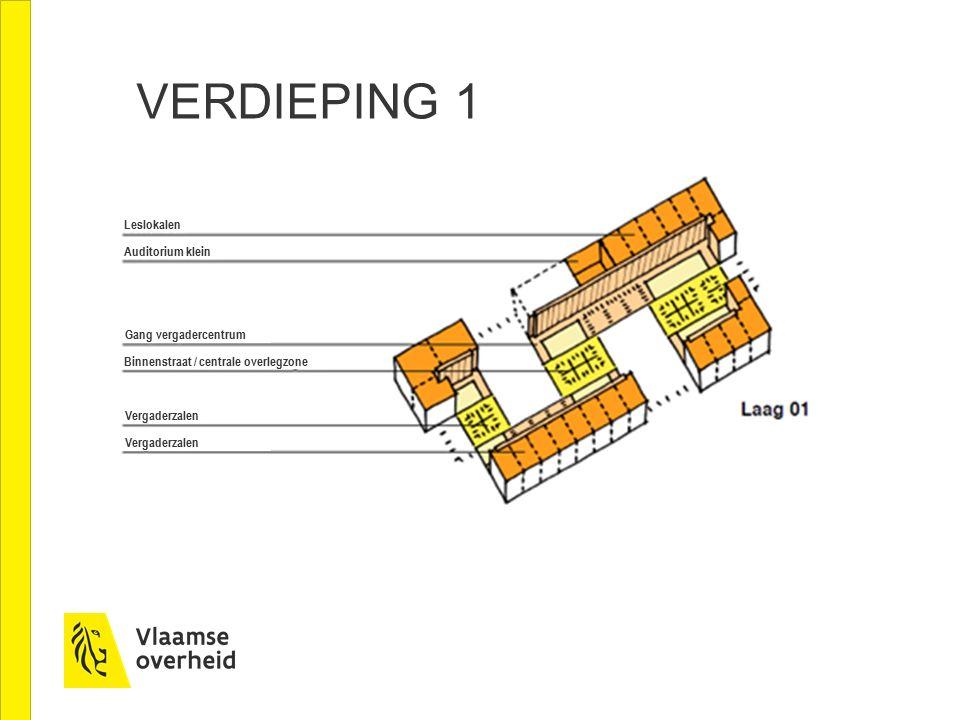 VERDIEPING 1 Leslokalen Auditorium klein Gang vergadercentrum Vergaderzalen Binnenstraat / centrale overlegzone