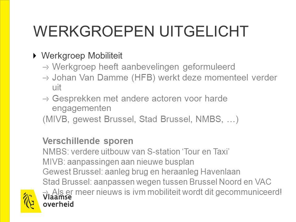 WERKGROEPEN UITGELICHT Werkgroep Mobiliteit Werkgroep heeft aanbevelingen geformuleerd Johan Van Damme (HFB) werkt deze momenteel verder uit Gesprekken met andere actoren voor harde engagementen (MIVB, gewest Brussel, Stad Brussel, NMBS, …) Verschillende sporen NMBS: verdere uitbouw van S-station 'Tour en Taxi' MIVB: aanpassingen aan nieuwe busplan Gewest Brussel: aanleg brug en heraanleg Havenlaan Stad Brussel: aanpassen wegen tussen Brussel Noord en VAC Als er meer nieuws is ivm mobiliteit wordt dit gecommuniceerd!