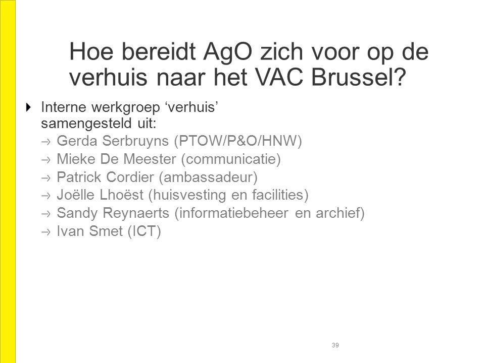 Hoe bereidt AgO zich voor op de verhuis naar het VAC Brussel.