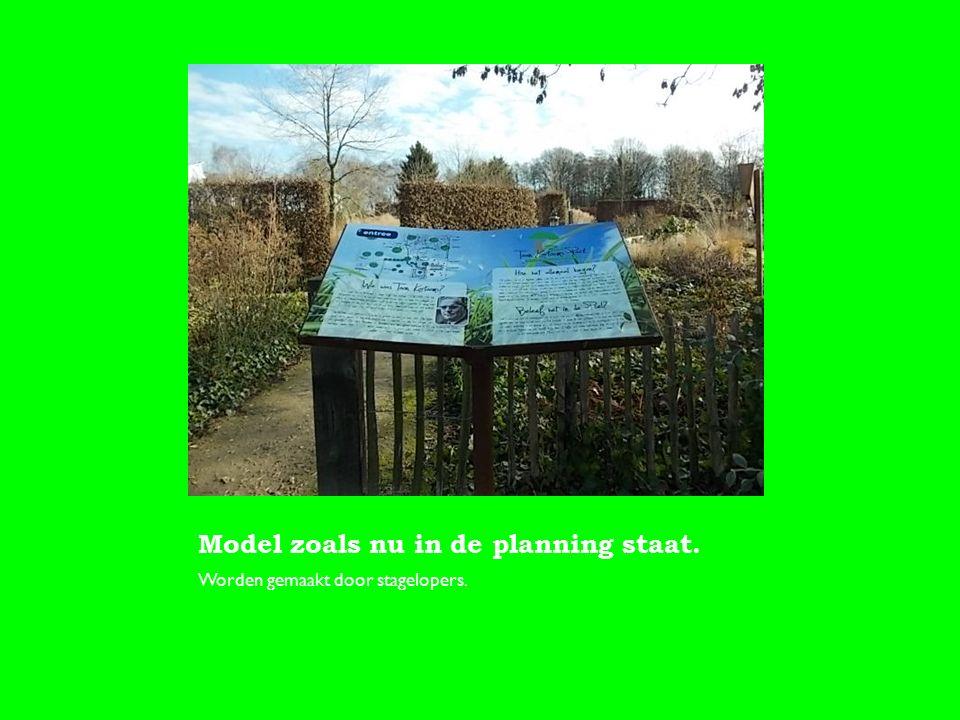 Model zoals nu in de planning staat. Worden gemaakt door stagelopers.