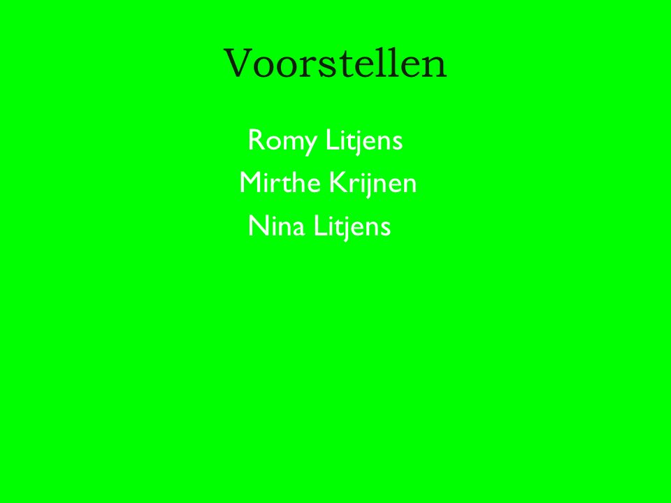 Voorstellen Romy Litjens Mirthe Krijnen Nina Litjens