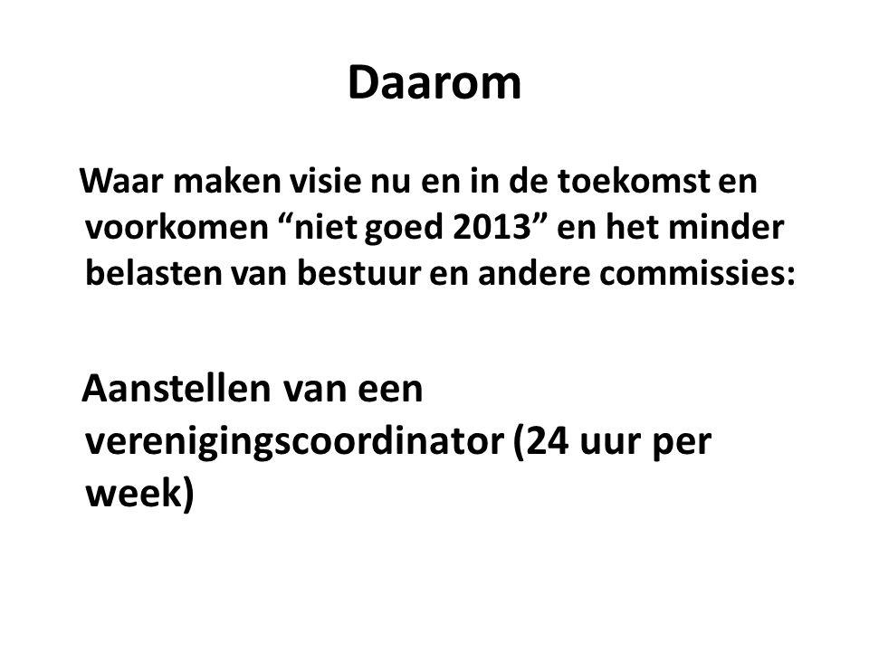 Daarom Waar maken visie nu en in de toekomst en voorkomen niet goed 2013 en het minder belasten van bestuur en andere commissies: Aanstellen van een verenigingscoordinator (24 uur per week)