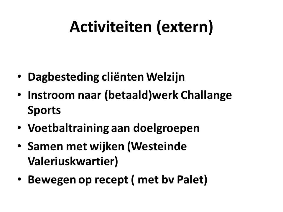 Activiteiten (extern) Dagbesteding cliënten Welzijn Instroom naar (betaald)werk Challange Sports Voetbaltraining aan doelgroepen Samen met wijken (Wes