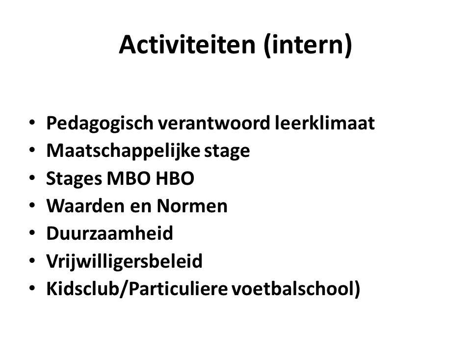 Activiteiten (intern) Pedagogisch verantwoord leerklimaat Maatschappelijke stage Stages MBO HBO Waarden en Normen Duurzaamheid Vrijwilligersbeleid Kidsclub/Particuliere voetbalschool)