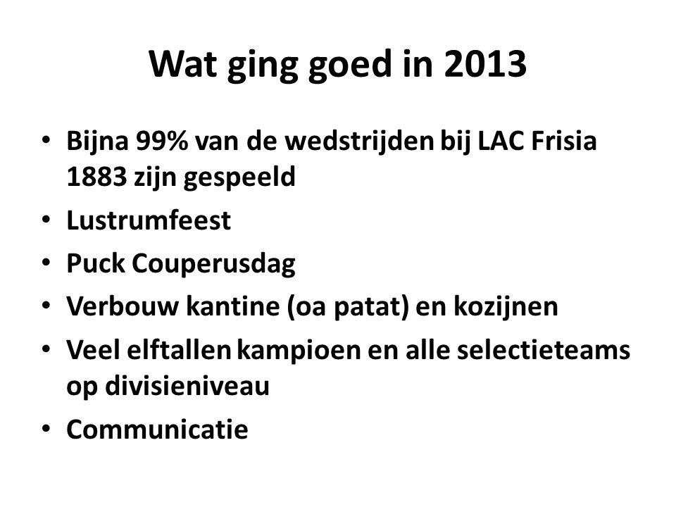 Wat ging goed in 2013 Bijna 99% van de wedstrijden bij LAC Frisia 1883 zijn gespeeld Lustrumfeest Puck Couperusdag Verbouw kantine (oa patat) en kozijnen Veel elftallen kampioen en alle selectieteams op divisieniveau Communicatie