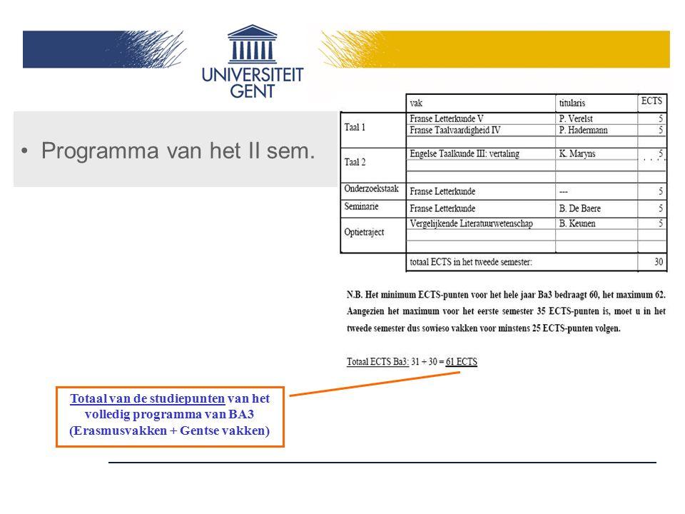 Programma van het II sem. Totaal van de studiepunten van het volledig programma van BA3 (Erasmusvakken + Gentse vakken)