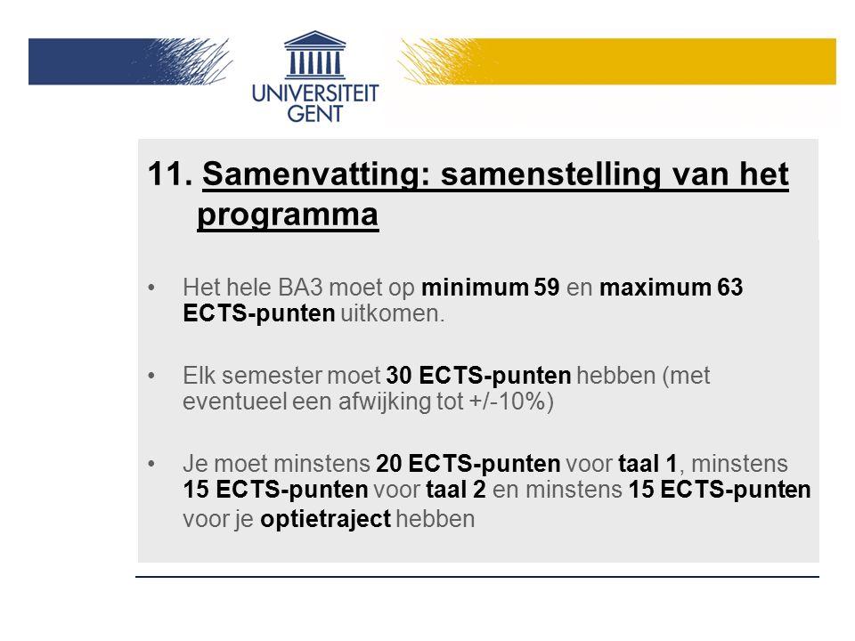 11. Samenvatting: samenstelling van het programma Het hele BA3 moet op minimum 59 en maximum 63 ECTS-punten uitkomen. Elk semester moet 30 ECTS-punten