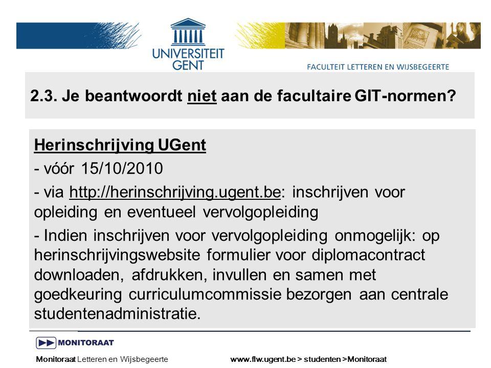 Naam presentatie – Naam maker en/of presentator - 12/09/2005 Faculteit Naam Faculteit – Dienst of Vakgroep (optioneel) 2.3.