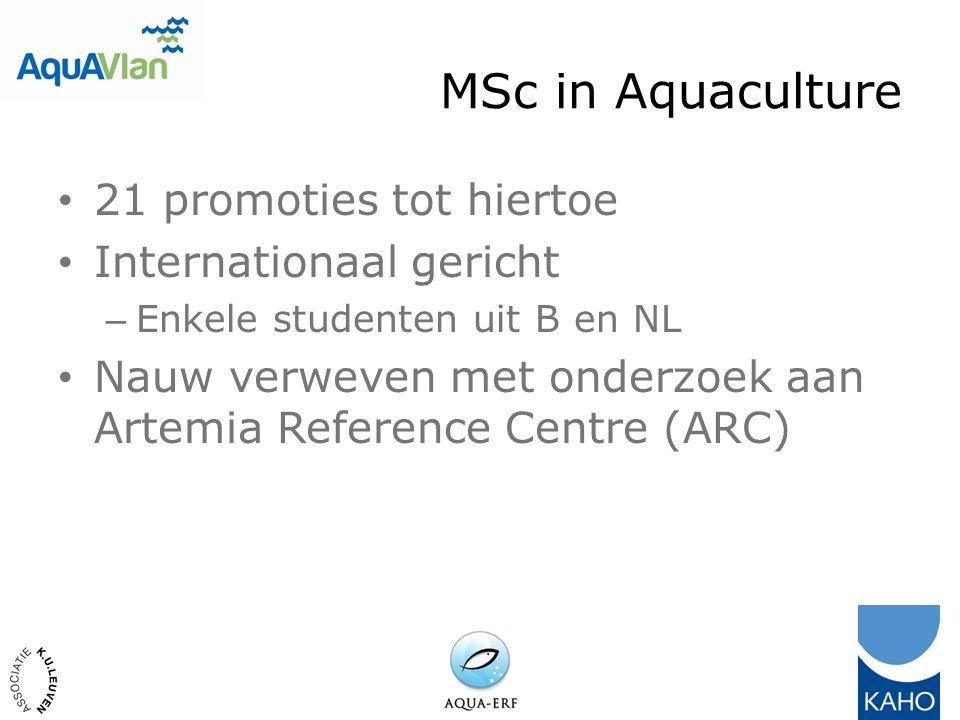 MSc in Aquaculture 21 promoties tot hiertoe Internationaal gericht – Enkele studenten uit B en NL Nauw verweven met onderzoek aan Artemia Reference Centre (ARC)