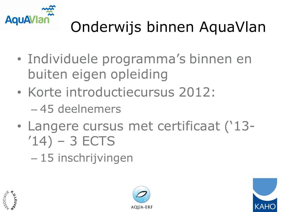 Onderwijs binnen AquaVlan Individuele programma's binnen en buiten eigen opleiding Korte introductiecursus 2012: – 45 deelnemers Langere cursus met certificaat ('13- '14) – 3 ECTS – 15 inschrijvingen