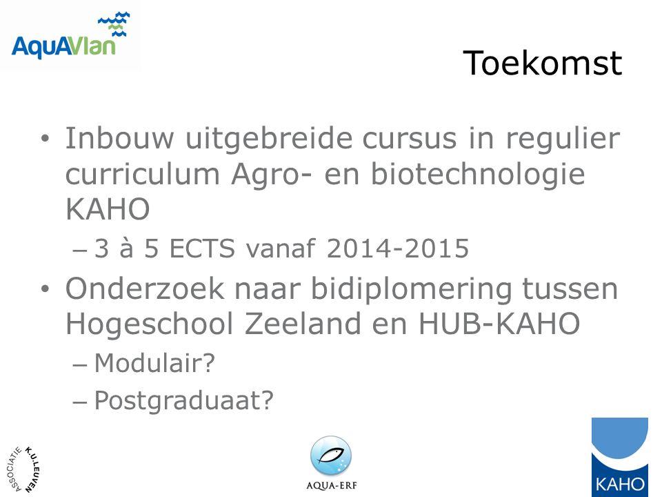 Toekomst Inbouw uitgebreide cursus in regulier curriculum Agro- en biotechnologie KAHO – 3 à 5 ECTS vanaf 2014-2015 Onderzoek naar bidiplomering tussen Hogeschool Zeeland en HUB-KAHO – Modulair.