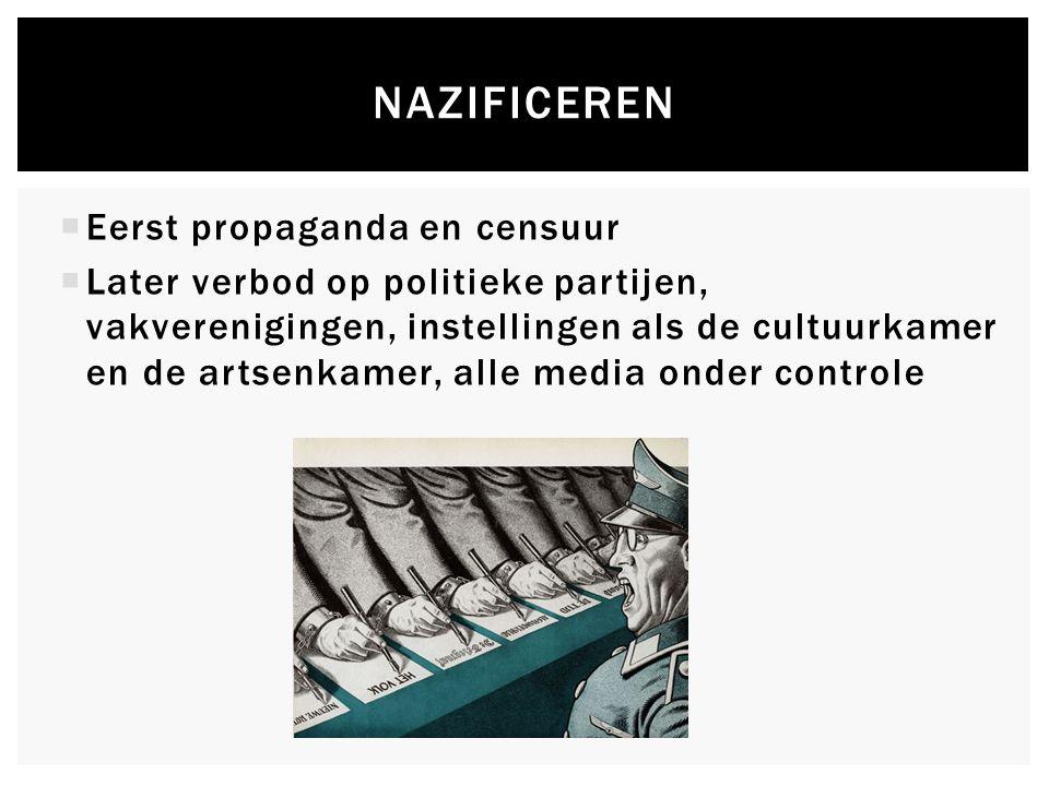  Eerst propaganda en censuur  Later verbod op politieke partijen, vakverenigingen, instellingen als de cultuurkamer en de artsenkamer, alle media onder controle NAZIFICEREN