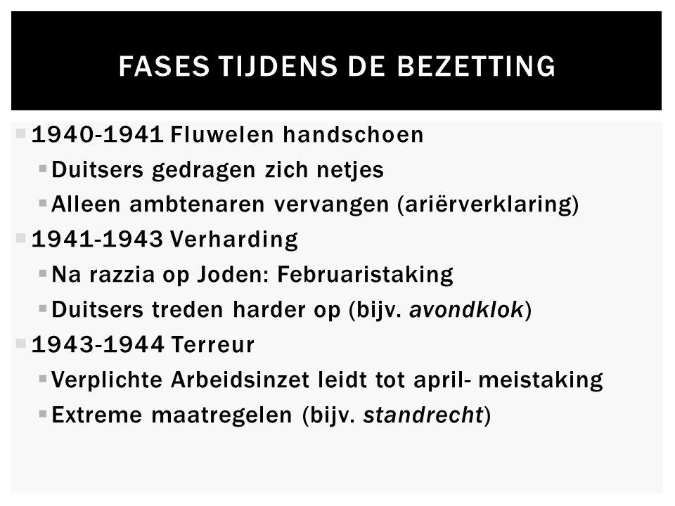FASES TIJDENS DE BEZETTING  1940-1941 Fluwelen handschoen  Duitsers gedragen zich netjes  Alleen ambtenaren vervangen (ariërverklaring)  1941-1943 Verharding  Na razzia op Joden: Februaristaking  Duitsers treden harder op (bijv.