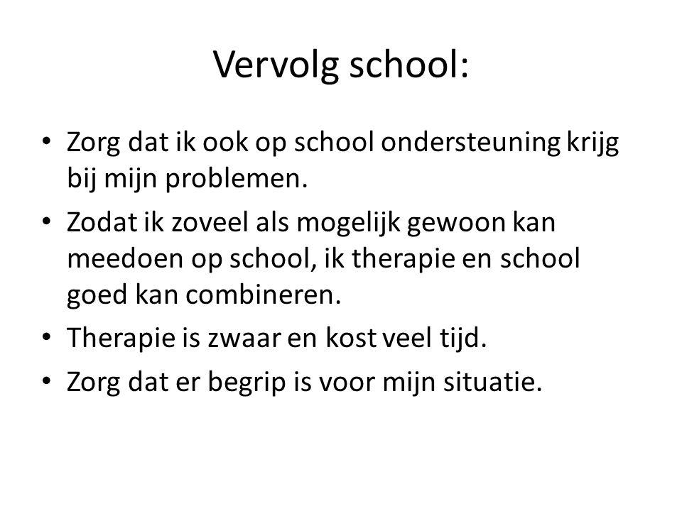 Vervolg school: Zorg dat ik ook op school ondersteuning krijg bij mijn problemen. Zodat ik zoveel als mogelijk gewoon kan meedoen op school, ik therap