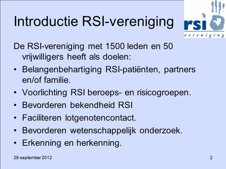 28 september 20122 Introductie RSI-vereniging De RSI-vereniging met 1500 leden en 50 vrijwilligers heeft als doelen: Belangenbehartiging RSI-patiënten