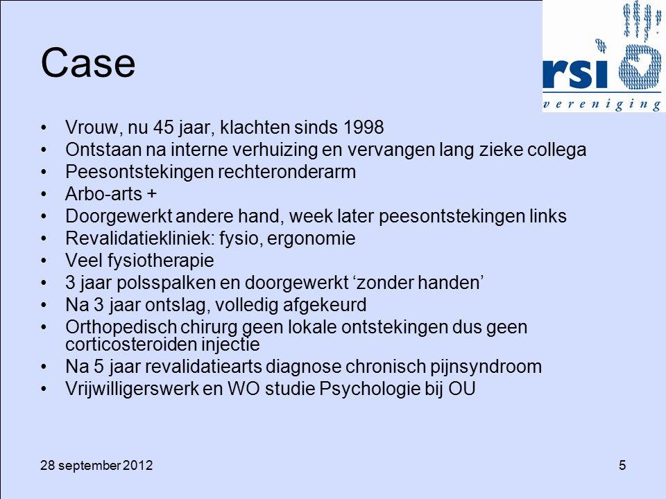 28 september 20126 Pijnpunten praktijkervaring Huisarts: Diagnose: door patiënt, 'carpaaltunneltje', geen.