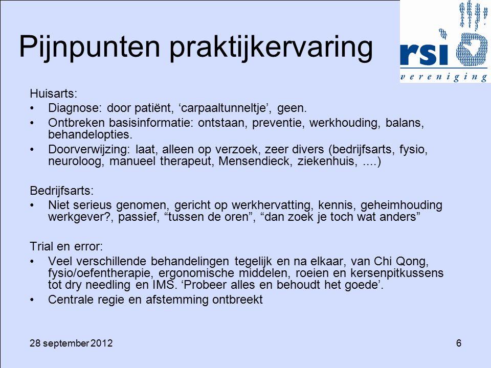 28 september 20126 Pijnpunten praktijkervaring Huisarts: Diagnose: door patiënt, 'carpaaltunneltje', geen. Ontbreken basisinformatie: ontstaan, preven