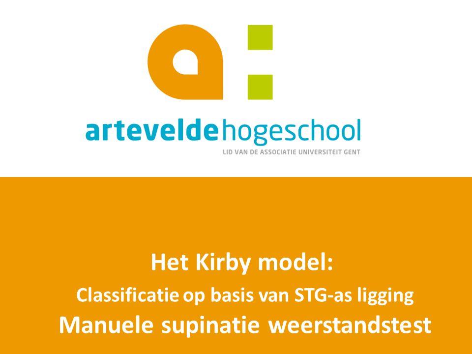 Het Kirby model: Classificatie op basis van STG-as ligging Manuele supinatie weerstandstest
