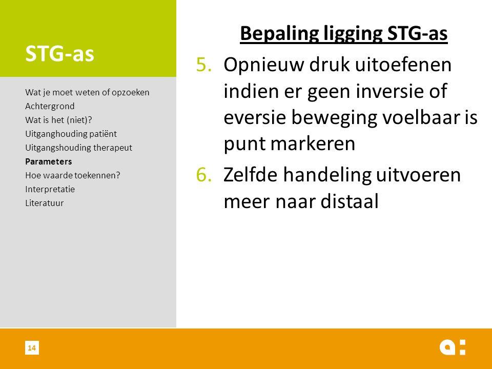 STG-as Bepaling ligging STG-as 5.Opnieuw druk uitoefenen indien er geen inversie of eversie beweging voelbaar is punt markeren 6.Zelfde handeling uitv