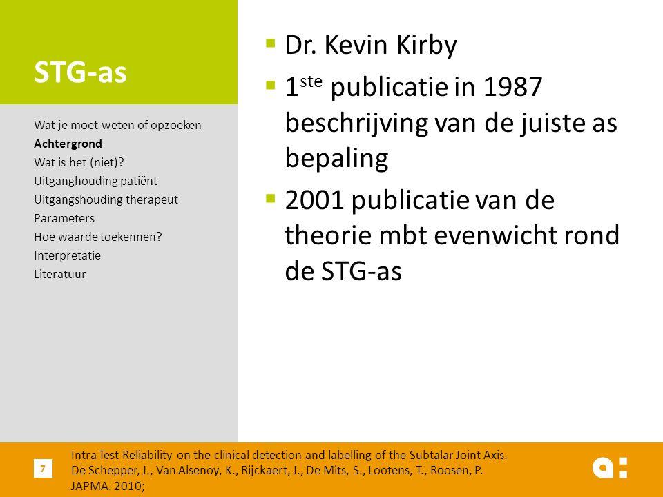 STG-as  Dr. Kevin Kirby  1 ste publicatie in 1987 beschrijving van de juiste as bepaling  2001 publicatie van de theorie mbt evenwicht rond de STG-