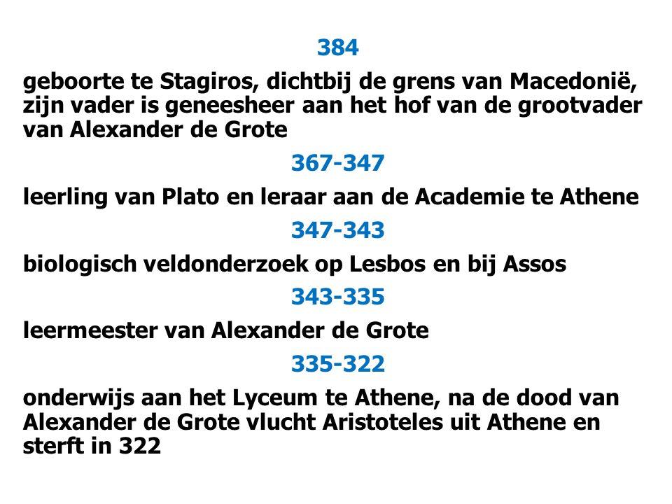 384 geboorte te Stagiros, dichtbij de grens van Macedonië, zijn vader is geneesheer aan het hof van de grootvader van Alexander de Grote 367-347 leerling van Plato en leraar aan de Academie te Athene 347-343 biologisch veldonderzoek op Lesbos en bij Assos 343-335 leermeester van Alexander de Grote 335-322 onderwijs aan het Lyceum te Athene, na de dood van Alexander de Grote vlucht Aristoteles uit Athene en sterft in 322