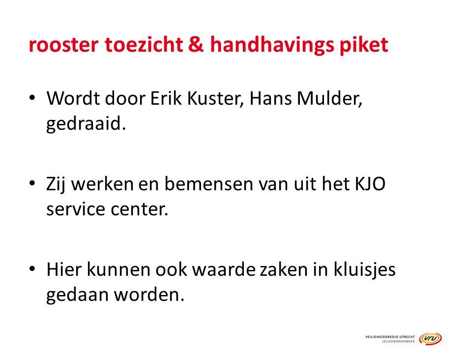 rooster toezicht & handhavings piket Wordt door Erik Kuster, Hans Mulder, gedraaid. Zij werken en bemensen van uit het KJO service center. Hier kunnen