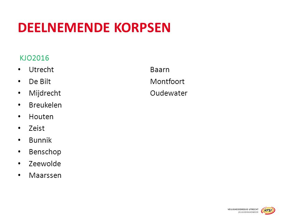 DEELNEMENDE KORPSEN KJO2016 UtrechtBaarn De BiltMontfoort MijdrechtOudewater Breukelen Houten Zeist Bunnik Benschop Zeewolde Maarssen