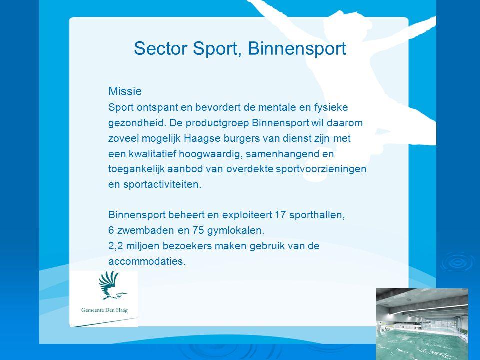 Sector Sport, Binnensport Missie Sport ontspant en bevordert de mentale en fysieke gezondheid.