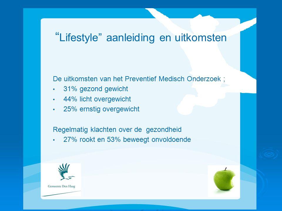Lifestyle aanleiding en uitkomsten De uitkomsten van het Preventief Medisch Onderzoek ; 31% gezond gewicht 44% licht overgewicht 25% ernstig overgewicht Regelmatig klachten over de gezondheid 27% rookt en 53% beweegt onvoldoende