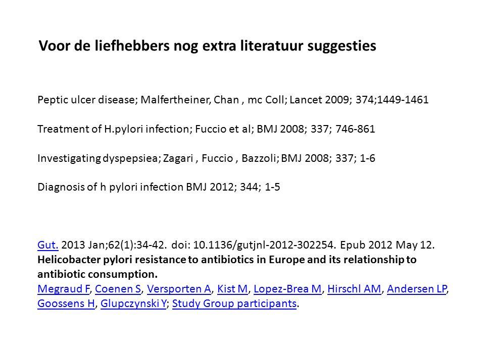 Peptic ulcer disease; Malfertheiner, Chan, mc Coll; Lancet 2009; 374;1449-1461 Treatment of H.pylori infection; Fuccio et al; BMJ 2008; 337; 746-861 Investigating dyspepsiea; Zagari, Fuccio, Bazzoli; BMJ 2008; 337; 1-6 Diagnosis of h pylori infection BMJ 2012; 344; 1-5 Gut.Gut.