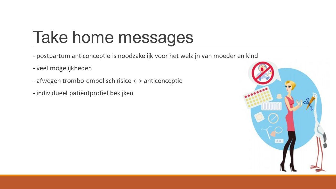 Take home messages - postpartum anticonceptie is noodzakelijk voor het welzijn van moeder en kind - veel mogelijkheden - afwegen trombo-embolisch risico anticonceptie - individueel patiëntprofiel bekijken