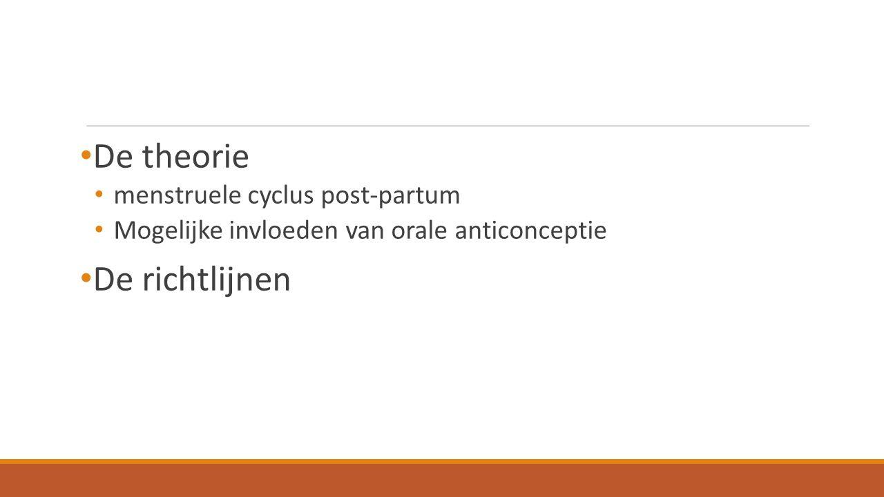 De theorie menstruele cyclus post-partum Mogelijke invloeden van orale anticonceptie De richtlijnen