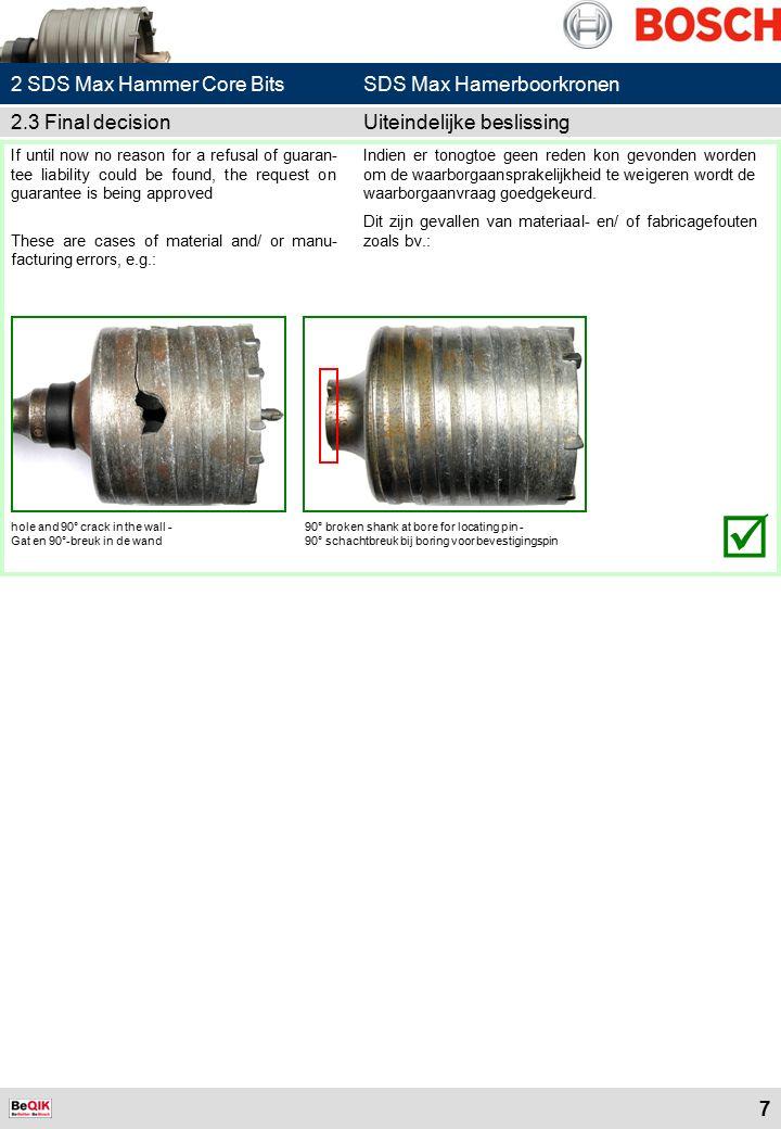 18 6.1 Damaged discBeschadigde schijf  Description: Damaged flange socket or cutting edge, often caused by improper fastening.