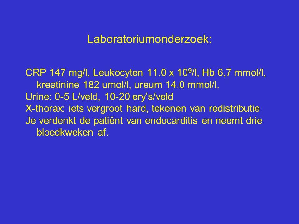 Laboratoriumonderzoek: CRP 147 mg/l, Leukocyten 11.0 x 10 9 /l, Hb 6,7 mmol/l, kreatinine 182 umol/l, ureum 14.0 mmol/l. Urine: 0-5 L/veld, 10-20 ery'