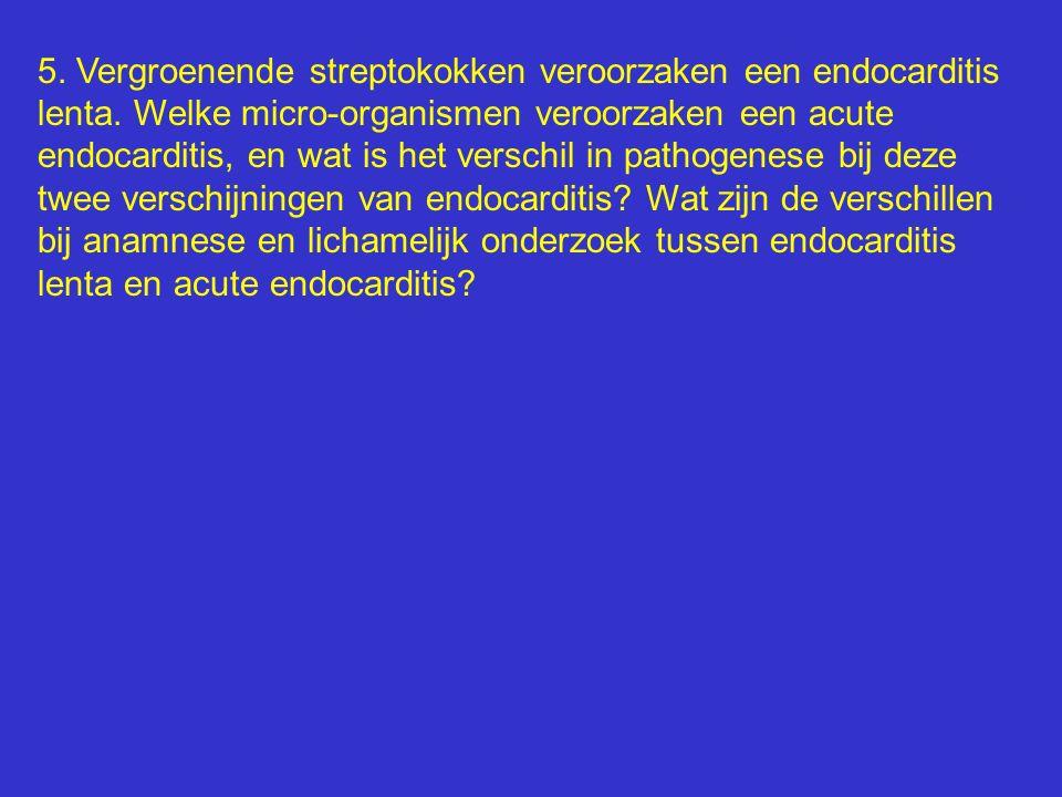 5. Vergroenende streptokokken veroorzaken een endocarditis lenta. Welke micro-organismen veroorzaken een acute endocarditis, en wat is het verschil in