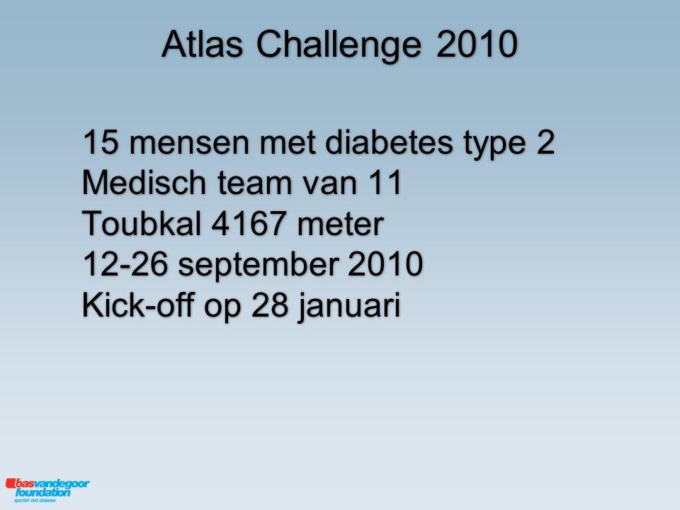 Atlas Challenge 2010 15 mensen met diabetes type 2 Medisch team van 11 Toubkal 4167 meter 12-26 september 2010 Kick-off op 28 januari