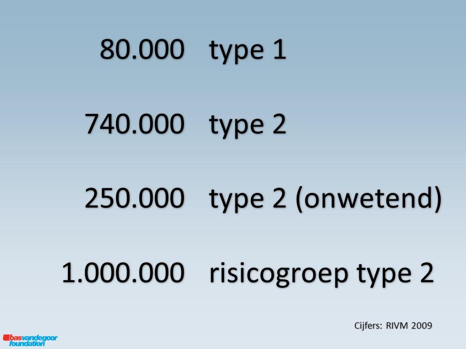 type 1 type 2 type 2 (onwetend) risicogroep type 2 Cijfers: RIVM 2009 80.000740.000250.0001.000.000