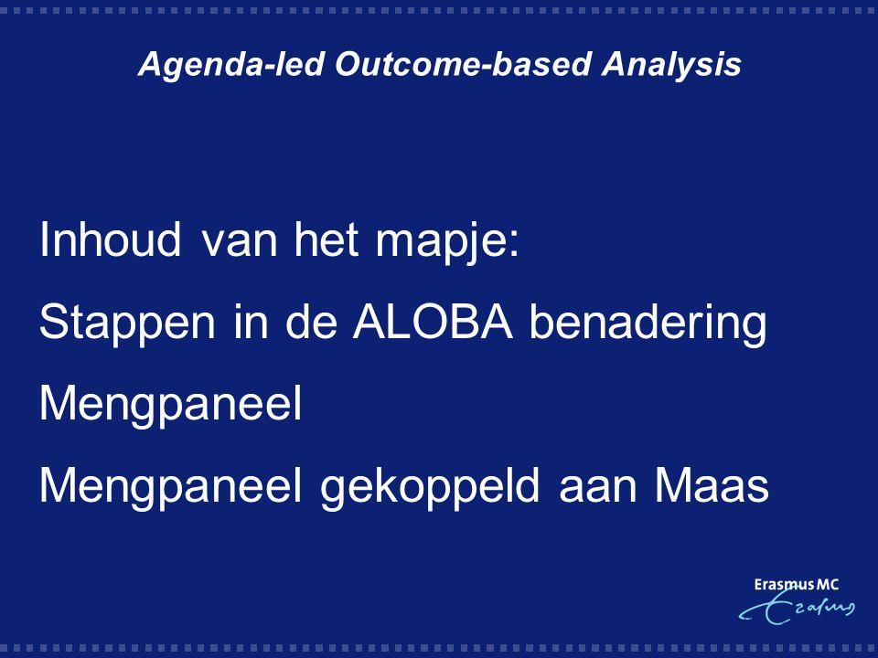 Agenda-led Outcome-based Analysis Inhoud van het mapje: Stappen in de ALOBA benadering Mengpaneel Mengpaneel gekoppeld aan Maas