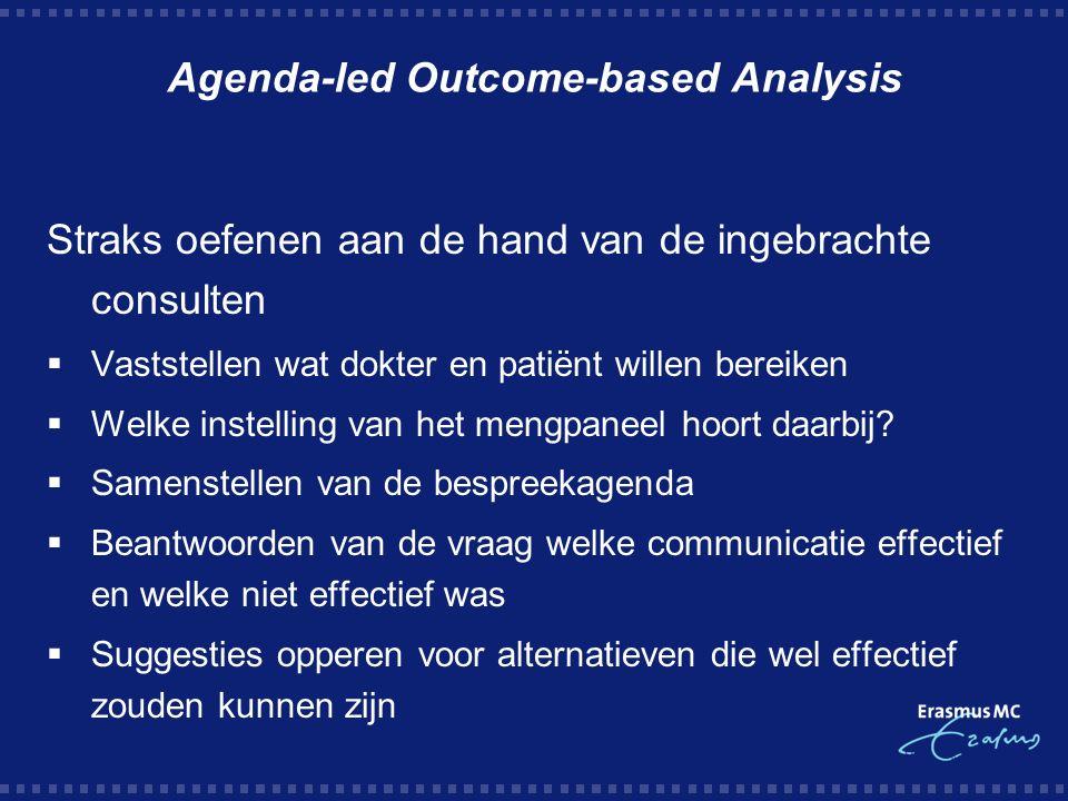 Agenda-led Outcome-based Analysis Straks oefenen aan de hand van de ingebrachte consulten  Vaststellen wat dokter en patiënt willen bereiken  Welke instelling van het mengpaneel hoort daarbij.