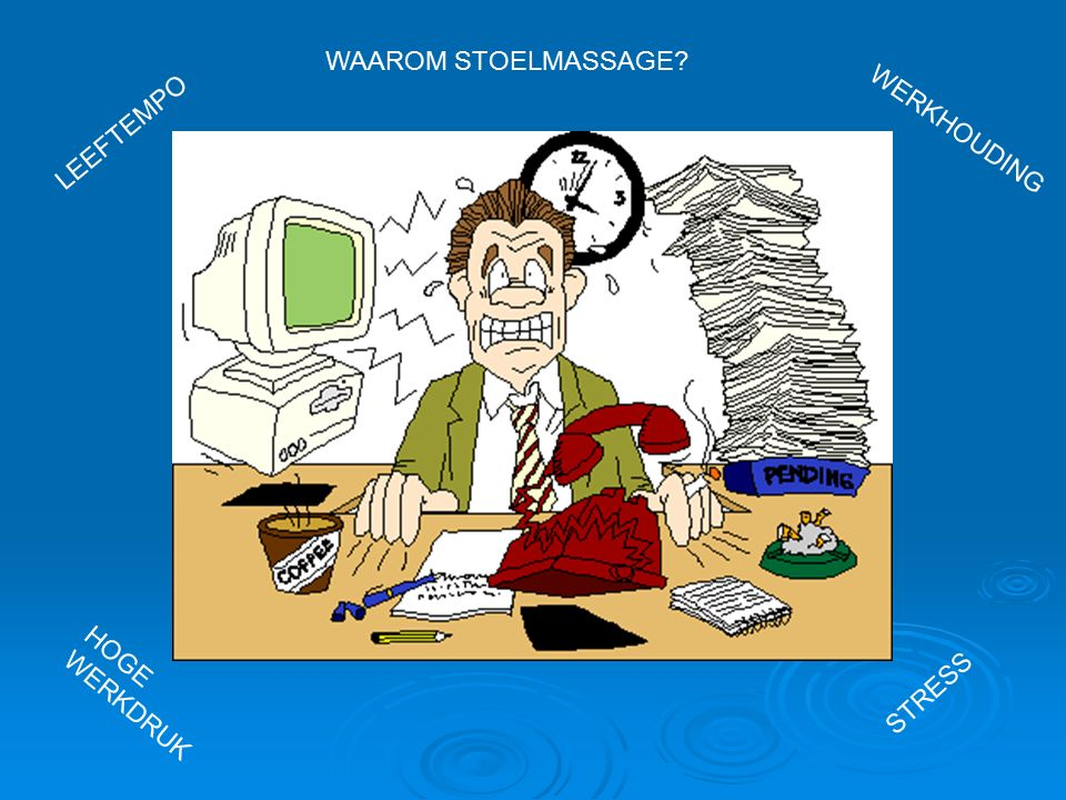 WAAROM STOELMASSAGE? STRESS HOGE WERKDRUK LEEFTEMPO WERKHOUDING